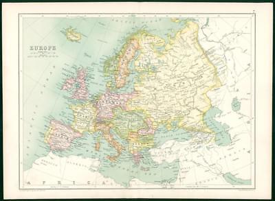 1912 Original Colour Antique Map - EUROPE  (9)