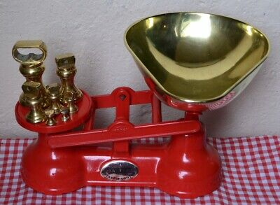 "VINTAGE ENGLISH ""THE SALTER"" KITCHEN SCALES VIBRANT RED 7 BRASS BELL WEIGHTS"