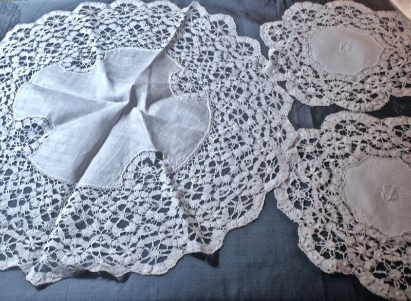 Handmade Antique Cluny Lace Table Topper with Two Doilies