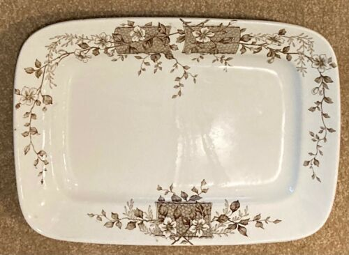 ANTIQUE W. H. GRINDLEY CO. TUNSTALL BLOSSOM PATTERN ENGLISH STONE WARE PLATTER