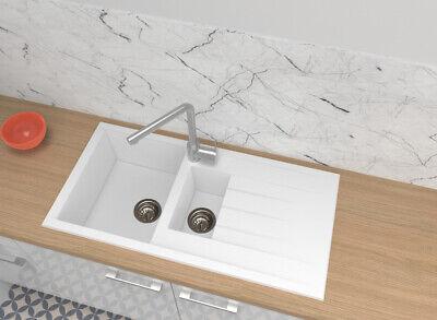 Fregadero Cocina Integrado Lavabo Granito Mineralite 100x50 Blanco respekta