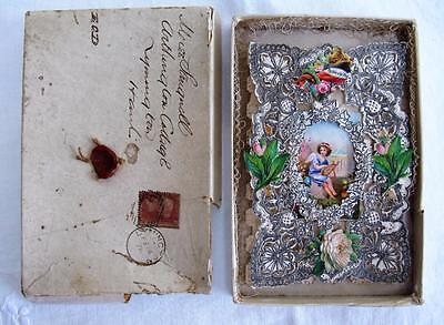 ANTIQUE VICTORIAN LACE DIE CUT VALENTINES GREETING CARD & ORIGINAL BOX c1876