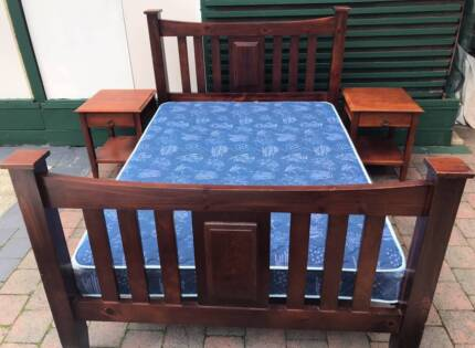 Excellent wooden double bed set with matching bedside tables