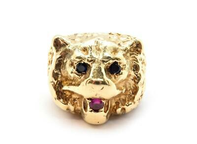 14k Yellow Gold Ruby & Sapphire Bear Animal Head Ring