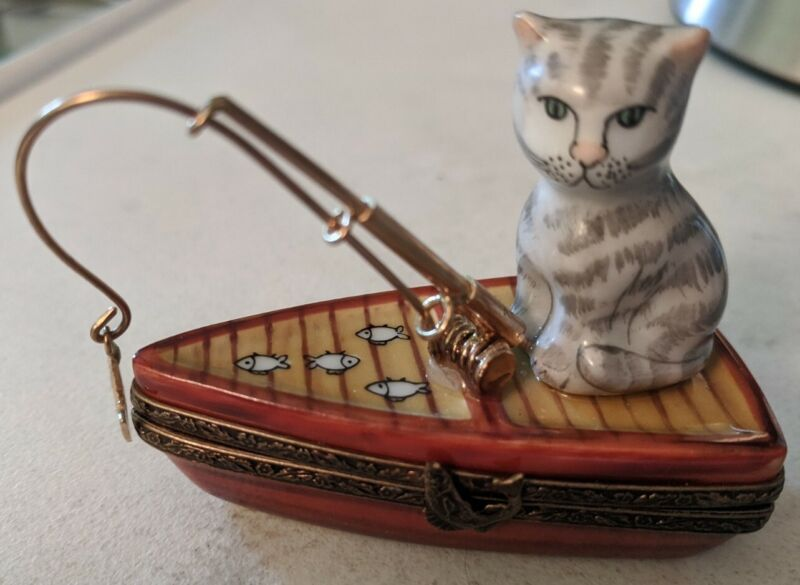 Limoges Cat Fishing in boat Trinket Box signed numbered limited edition