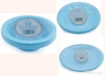 Light Blue Plastic Bowls (Light Blue Round Disposable Plastic Bowls Plates 12 oz 18cm 26cm Party Event BBQ)
