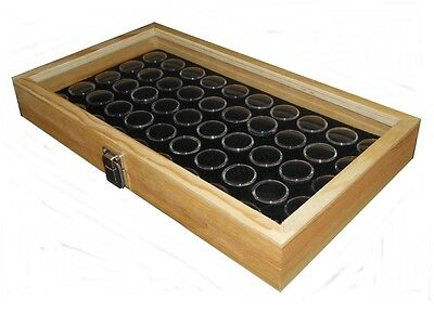 Wall Mount Natural Wood Glass Top 50 State Quarter Coin Display Case Box