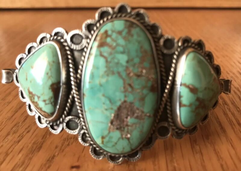 Vintage 1930's Navajo Sterling Silver Natural Green Turquoise Cuff Bracelet