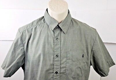 Volcom Shirt Khaki (Volcom Stone Men's Khaki Short Sleeve Button Down Shirt Embroidered Size Small)