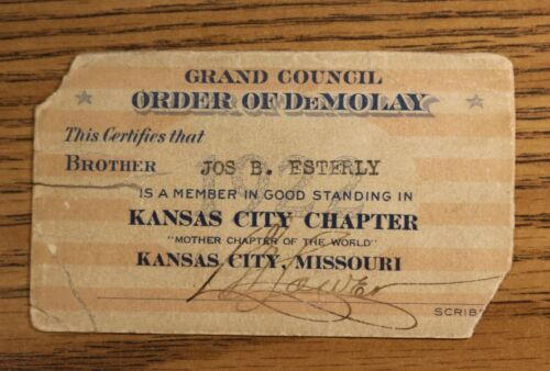1st Demolay Louis G. Lower Autograph Mother Chapter Signed Membership Card 1922