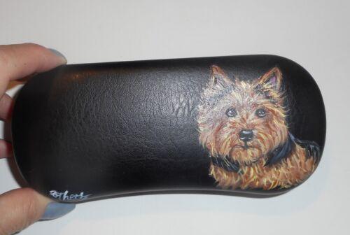 Norwich Terrier Dog Hand Painted Eyeglass Glasses Case Vegan Box
