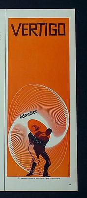 1958 VERTIGO HITCHCOCK MOVIE AD POSTER SAUL BASS DESIGN RARE 1/2 PAGE VERSION
