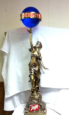 Schlitz beer sign light Colombian princess lamp motion globe lighted lady statue