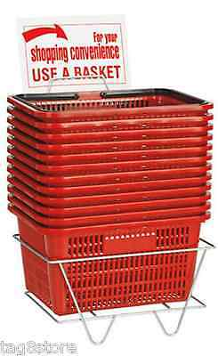 12 Standard Shopping Baskets - Plastic Handles - With Metal Stand And Sign - Red