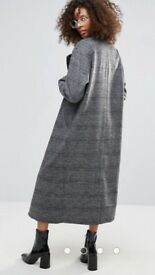 Monki Grey Check Longline Vegan Winter Coat Size 6- 8/ XS