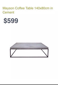 FREEDOM FURNITURE CEMENT MAYSON COFFEE TABLE Chester Hill Bankstown Area Preview