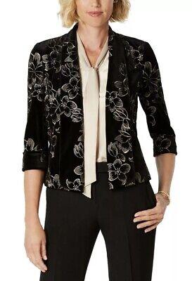 Kasper Women's Jacket Blazer Black Velvet Gold Floral Embroidered US12 UK 16 NEW