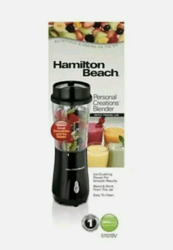 New Hamilton Beach Personal Creations Blender w/Travel Lid - Ice Crushing Black