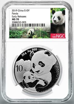 2019 10 Yuan Silver Chinese Panda NGC MS70 Early Releases Panda Label Presale (Chinese Coins)