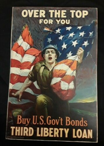 """Original WWI """"Over The Top For You"""" Liberty Loan Poster By Sidney Riesenberg"""