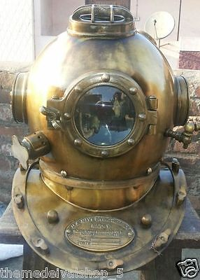 Antique Divers Diving Helmet US Navy Mark V Deep Sea Full Size Marine Dive Helm