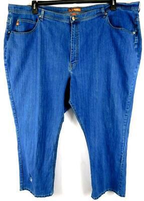 Signature light blue plus size embroidered straight leg spandex denim jeans -