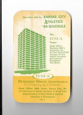 1966 KANSAS CITY A's ATHLETICS - Pocket Schedule - BMA Insurance Company](Party City Schedule)