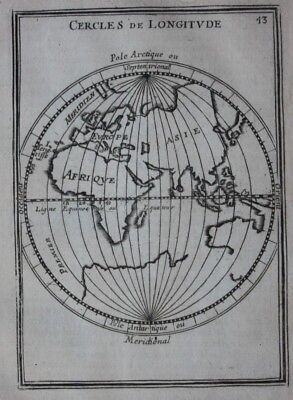 Original antique map WORLD, EASTERN HEMISPHERE, LINES OF LONGITUDE, Mallet 1683