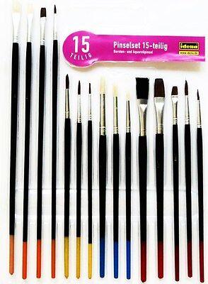Pinsel - Set 15 teilig Idena Tuschpinsel Malpinsel Schulpinsel Malkastenpinsel