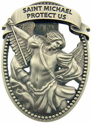 Visor Clip St Michael Protect Us Pewter Medal Catholic Vintage Car