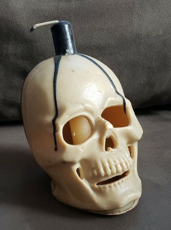 Vintage Gurley Halloween Large Skull Candle Rare Find!