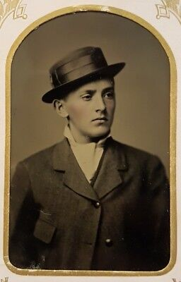 """ANTIQUE AMERICAN VICTORIAN MENS FASHION """"PRINTED SEPT 23 1879"""" TINTYPE PHOTO"""
