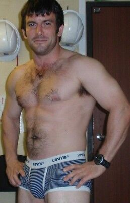 Shirtless Male Muscular Beefcake in Briefs Hairy Chest Beefy Guy PHOTO 4X6 F1509