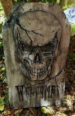Handmade Halloween Props (WELCOME Authentic Handmade Halloween Tombstone Prop Halloween Decor Yard Art)