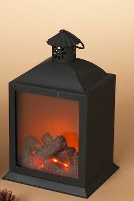 """Used, 10.25"""" B/O LIGHTED METAL FIRE LOG LANTERN w/REALISTIC FLAME XMAS DECOR STYLE 2 for sale  Lawrence"""