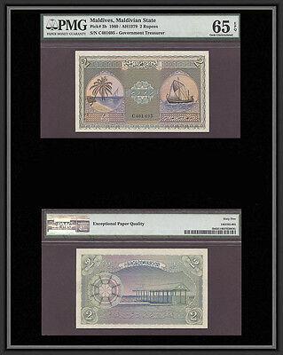 Tt Pk 3B 1960 2 Rupees Maldives Pmg 65 Epq Gem Uncirculated Only Few Finer
