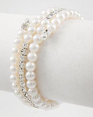 96B 3 Row Bridal SP Rhinestone Crystal White Pearl Coil Bracelet & Gift Box