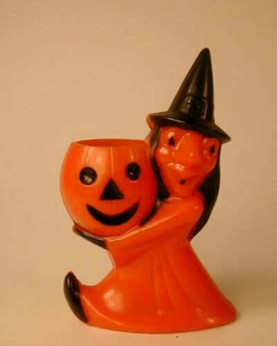 Vintage ROSBRO Halloween Candy Container Witch Holding Jack O Lantern JOL