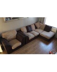 Corner sofa with a single chair