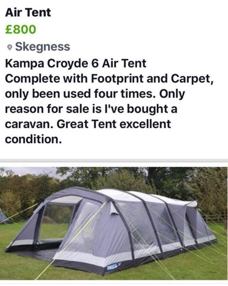 Kampa Croyde 6 Air Tent with Footprint, carpet and Spare Air beam ...