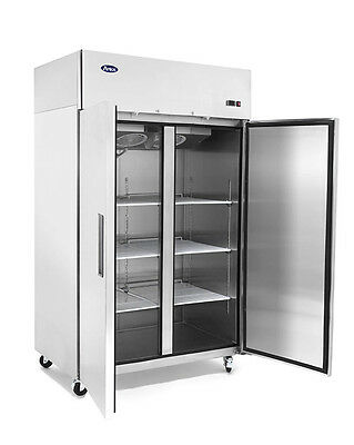 Atosa Double 2 Solid Door Stainless Steel Commercial Restaurant Upright Freezer