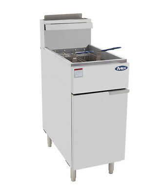 Atosa Deep Fryer 40 Lb 3 Burners Natural Gas - Atfs-40-ng With Wheels