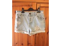 river island size 12 denim shorts