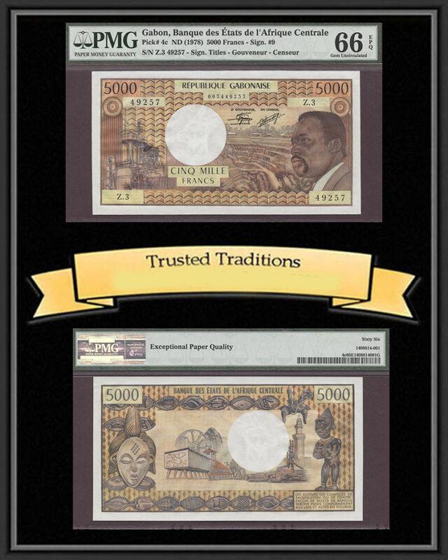 Tt Pk 4c 1978 Gabon 5000 Francs Pmg 66 Epq Gem Uncirculated