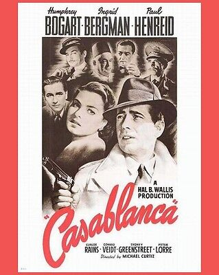 CASABLANCA 8x10 Photo RP MOVIE FACES Humphrey Bogart Ingrid Bergman Claude Rain