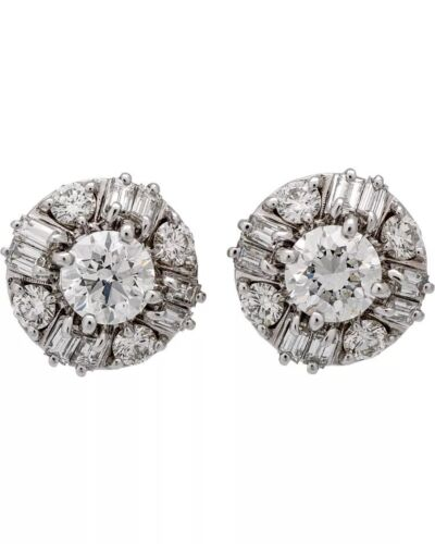 2.25 CARAT I - J SI1 GIA CERTIFIED DIAMOND STUD EARRINGS FEAT ROUND AND BAGUETTE