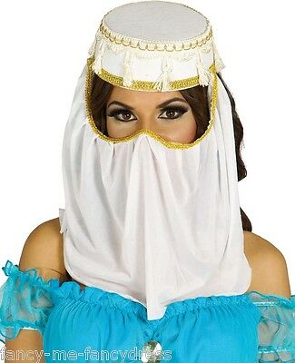 Ladies White Arabian Arab Headdress Head Cover Fancy Dress Costume Outfit Hat (Arabian Outfits Ladies)