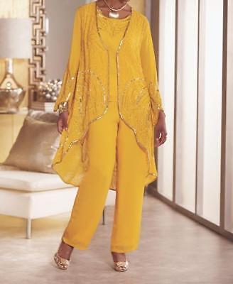 Ashro Yasia GOLD Wedding Church 3 Piece Duster Pant Set Suit 14 18W 26W -
