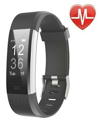 LETSCOM Fitness Tracker HR Activity Tracker Smart Watch Heart Rate Monitor Black