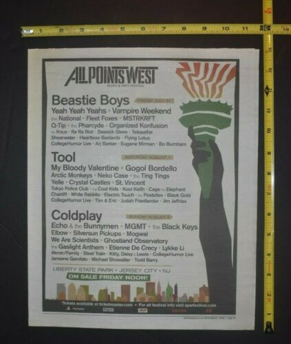 Beastie Boys 2009 Concert Ad All Point West Music Festival Liberty State Park NJ
